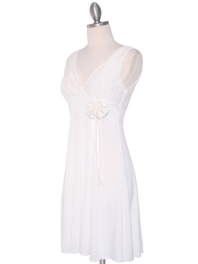 CP2134-D Lace Top Cocktail Dress - Off White, Alt View Medium