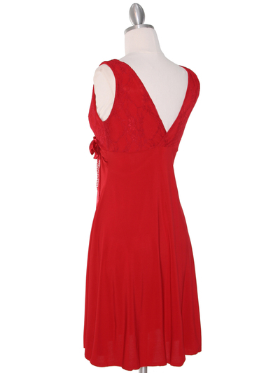 CP2134-D Lace Top Cocktail Dress - Red, Back View Medium