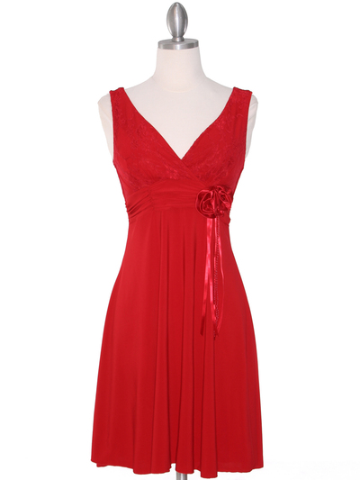CP2134-D Lace Top Cocktail Dress - Red, Front View Medium