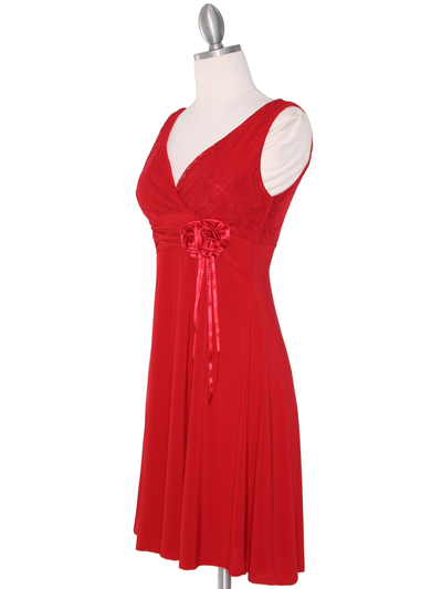 CP2134-D Lace Top Cocktail Dress - Red, Alt View Medium
