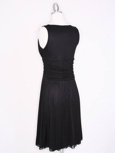 CP2178 V Neck Tea Length Cocktail Dresses - Black, Back View Medium
