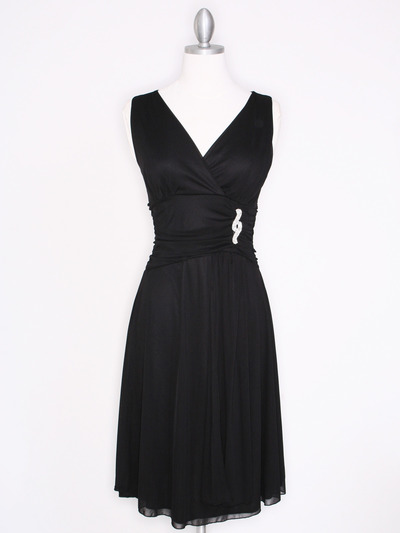 CP2178 V Neck Tea Length Cocktail Dresses - Black, Front View Medium