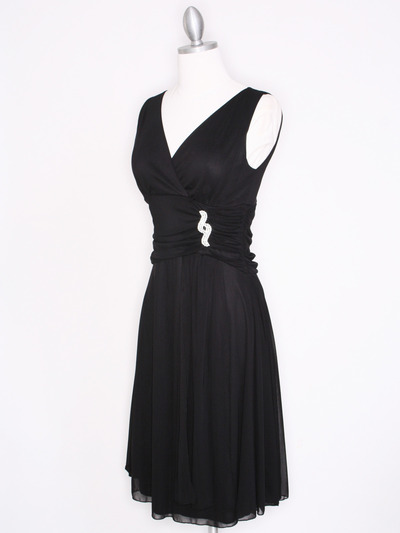 CP2178 V Neck Tea Length Cocktail Dresses - Black, Alt View Medium