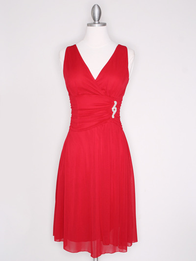 CP2178 V Neck Tea Length Cocktail Dresses - Red, Front View Medium