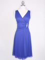 CP2178 V Neck Tea Length Cocktail Dresses - Royal Blue, Front View Thumbnail