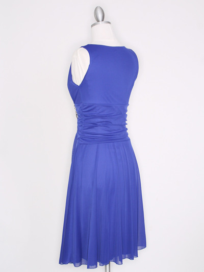 CP2178 V Neck Tea Length Cocktail Dresses - Royal Blue, Back View Medium