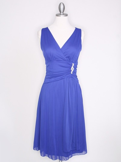 CP2178 V Neck Tea Length Cocktail Dresses - Royal Blue, Front View Medium