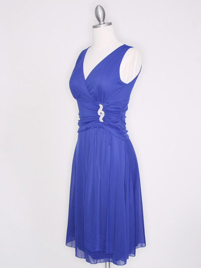 CP2178 V Neck Tea Length Cocktail Dresses - Royal Blue, Alt View Medium