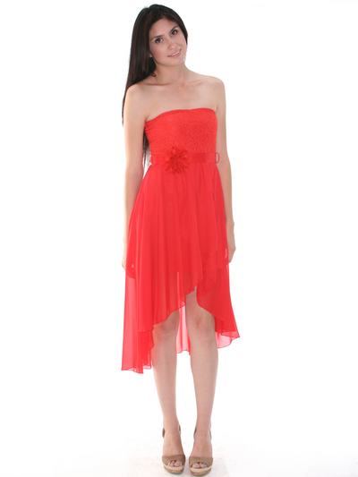 CP2209-lace Lace Top Chiffon High-low Cocktail Dress - Orange, Front View Medium