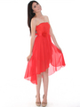 CP2209-lace Lace Top Chiffon High-low Cocktail Dress - Orange, Alt View Thumbnail