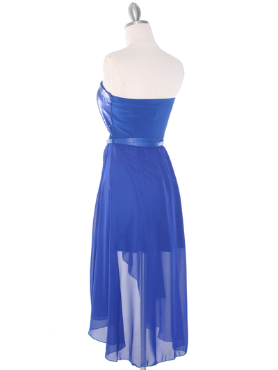 CP2209-seq Sequin Top Chiffon High-low Cocktail Dress - Royal Blue, Back View Medium