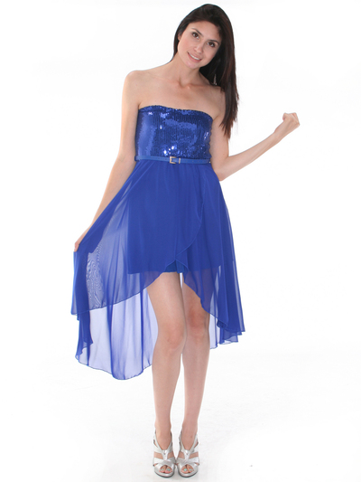 CP2209-seq Sequin Top Chiffon High-low Cocktail Dress - Royal Blue, Front View Medium