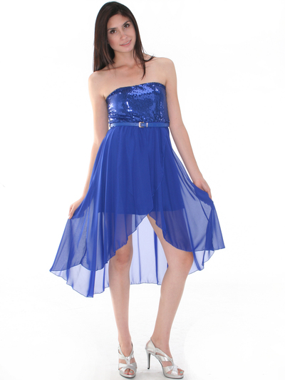CP2209-seq Sequin Top Chiffon High-low Cocktail Dress - Royal Blue, Alt View Medium