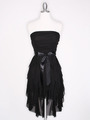 CP2211 Strapless Ruffel High Low Homecoming Dress with Sash  - Black, Front View Thumbnail