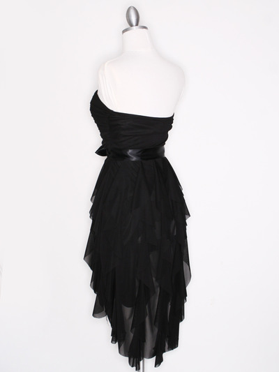CP2211 Strapless Ruffel High Low Homecoming Dress with Sash  - Black, Back View Medium