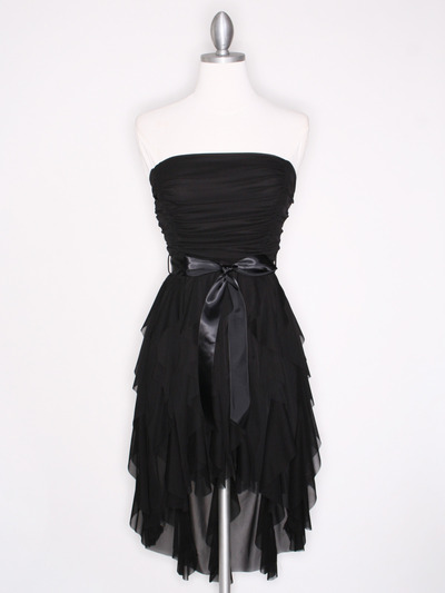 CP2211 Strapless Ruffel High Low Homecoming Dress with Sash  - Black, Front View Medium