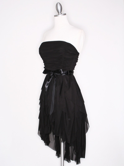 CP2211 Strapless Ruffel High Low Homecoming Dress with Sash  - Black, Alt View Medium