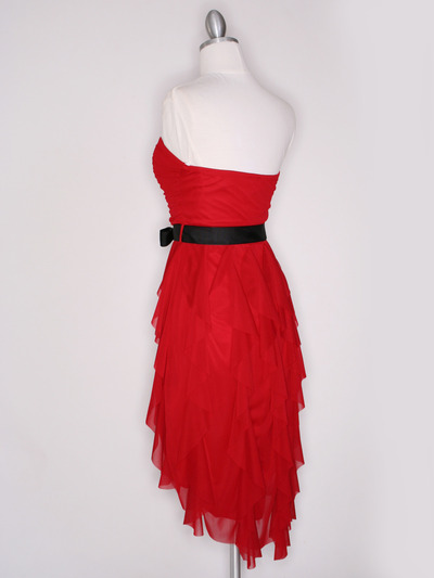 CP2211 Strapless Ruffel High Low Homecoming Dress with Sash  - Red, Back View Medium