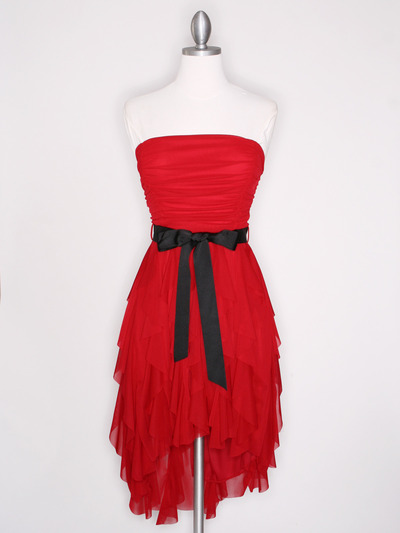 CP2211 Strapless Ruffel High Low Homecoming Dress with Sash  - Red, Front View Medium