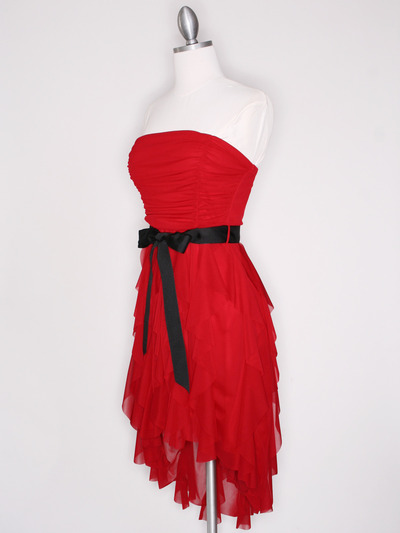 CP2211 Strapless Ruffel High Low Homecoming Dress with Sash  - Red, Alt View Medium