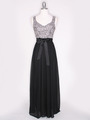 CP2257-CH Long Evening Dress with Sash - Black Gold, Front View Thumbnail