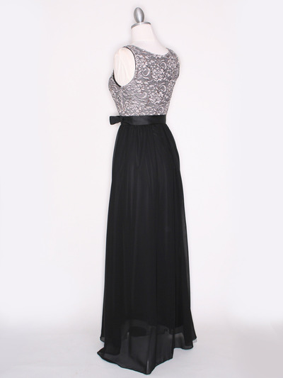 CP2257-CH Long Evening Dress with Sash - Black Gold, Back View Medium