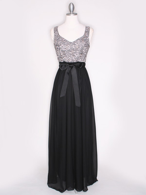 CP2257-CH Long Evening Dress with Sash, Black Gold