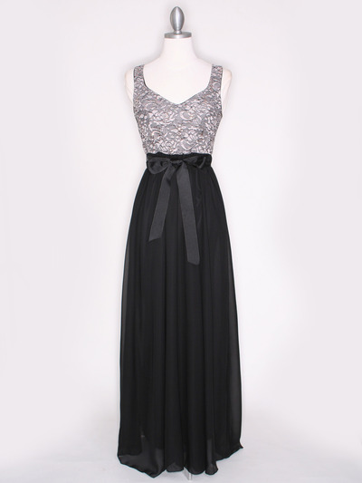 CP2257-CH Long Evening Dress with Sash - Black Gold, Front View Medium
