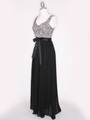 CP2257-CH Long Evening Dress with Sash - Black Gold, Alt View Thumbnail