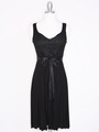 CP2257 Pleated Cocktail Dress with Sash - Black, Front View Thumbnail