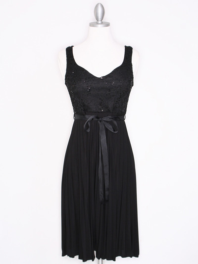 CP2257 Pleated Cocktail Dress with Sash - Black, Front View Medium