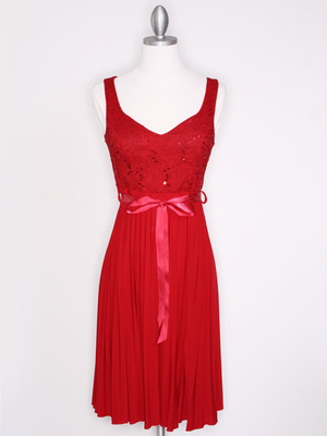 CP2257 Pleated Cocktail Dress with Sash, Red