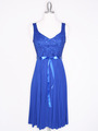 CP2257 Pleated Cocktail Dress with Sash - Royal Blue, Front View Thumbnail