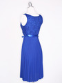 CP2257 Pleated Cocktail Dress with Sash - Royal Blue, Back View Thumbnail