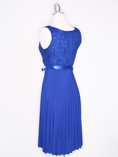CP2257 Pleated Cocktail Dress with Sash - Royal Blue, Back View Medium