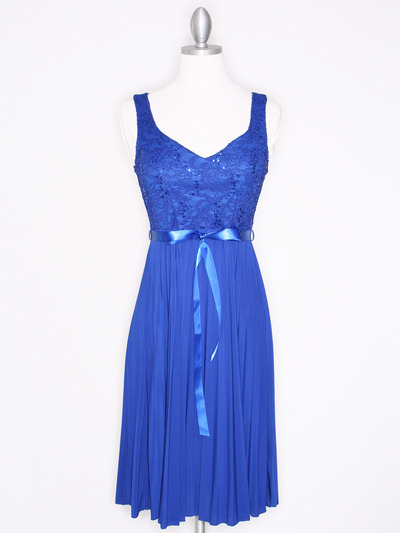 CP2257 Pleated Cocktail Dress with Sash - Royal Blue, Front View Medium