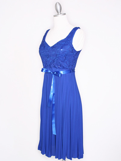 CP2257 Pleated Cocktail Dress with Sash - Royal Blue, Alt View Medium
