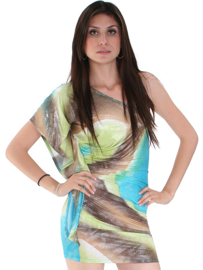 D0014 Print Shimmer One Shoulder Party Dress - Print, Front View Medium