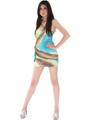 D0014 Print Shimmer One Shoulder Party Dress - Print, Alt View Thumbnail