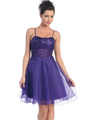 D7730 Sequin Top Glittering Cocktail Dress - Purple, Front View Thumbnail