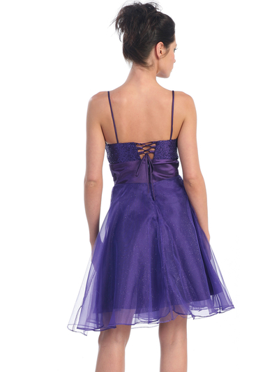 D7730 Sequin Top Glittering Cocktail Dress - Purple, Back View Medium