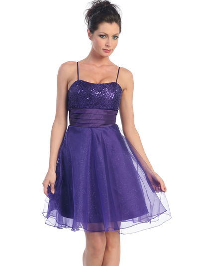 D7730 Sequin Top Glittering Cocktail Dress - Purple, Front View Medium