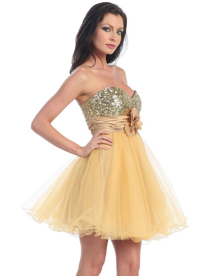 D8000 Sequin Top Sweetheart Cocktail Dress, Gold