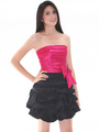 D8157 Two-tone Taffeta Cocktail Dress - Black Fuschia, Front View Thumbnail