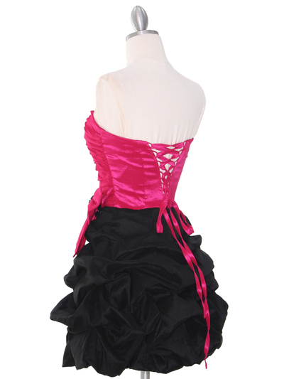 D8157 Two-tone Taffeta Cocktail Dress - Black Fuschia, Back View Medium