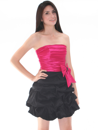 D8157 Two-tone Taffeta Cocktail Dress - Black Fuschia, Front View Medium