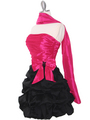 D8157 Two-tone Taffeta Cocktail Dress - Black Fuschia, Alt View Thumbnail