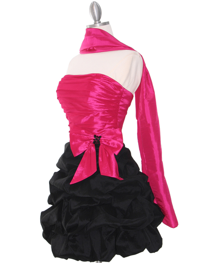 D8157 Two-tone Taffeta Cocktail Dress - Black Fuschia, Alt View Medium