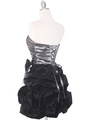 D8157 Two-tone Taffeta Cocktail Dress - Black Silver, Back View Thumbnail