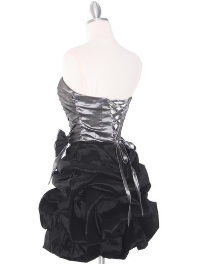 D8157 Two-tone Taffeta Cocktail Dress - Black Silver, Back View Medium